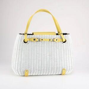 kate spade VTG white wicker bag w/leather trim